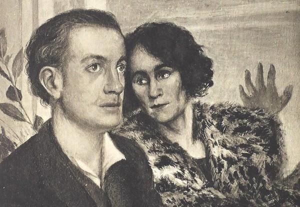 Portrait de Paul Éluard et Gala réalisé en décembre 1923 par Giorgio de Chirico, dans « Une vie de Gala » de Dominique Bona, éd. Flammarion.