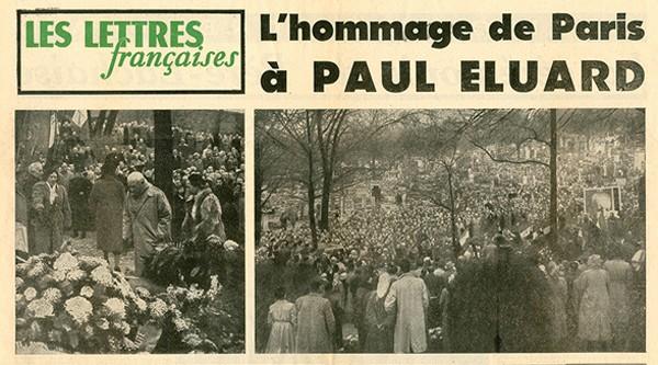 22 novembre 1952 : obsèques de Paul Éluard au Père-Lachaise, Les Lettres françaises, eluard.org, DR.