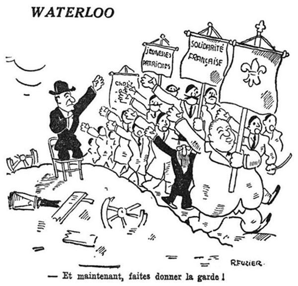 Caricature de R. Fuzier sur les manifestations nationalistes provoquées par la révocation du préfet de police Chiappe (natif de Corse). Parmi les ligueurs, Léon Daudet et Charles Maurras, Le Populaire, n° 4017, 6 février 1934. En agrandissement, manifestations fascistes à Paris à la suite des événements du 6 février 1934, Regards, 27 avril 1934.