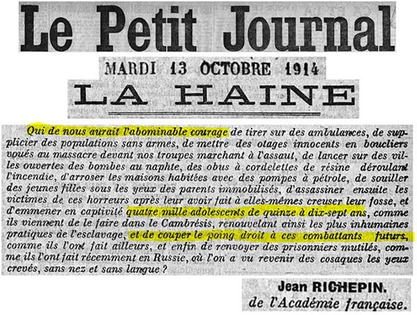 Le Petit Journal, extrait du mardi 13 octobre 1914.