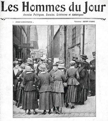 Les Midinettes : Une du journal Les Hommes du jour, 26 mai 1917. En agrandissement, la une Sur le Vif, 2 juin 1917.