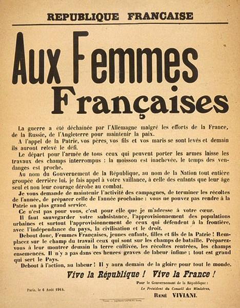 Appel aux Femmes Françaises lancé par le gouvernement de René Viviani le 6 août 1914 afin de mobiliser les femmes des campagnes pour assurer les moissons et les vendanges.