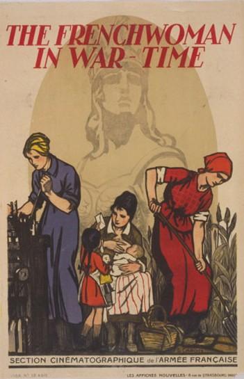 La Française en temps de guerre, affiche de G. Capon, Washington, Library of Congress. En agrandissement, conductrice de tramway à Toulouse en 1914-1918, Paris, BnF.