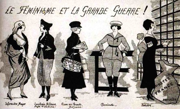Le rôle des femmes pendant la Grande Guerre, Carte postale de 1915. Agrandissement : Le 1er juin 1917, dans le 10ème arrondissement de Paris, les premières factrices sortent du bureau de poste pour aller distribuer le courrier, Paris, BnF, Gallica.