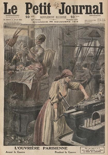 Le petit Journal illusré, 26 novembre 1916. En agrandissement, Mesure des obus, dessin de Tony Minartz, 1916, musée de Reims.