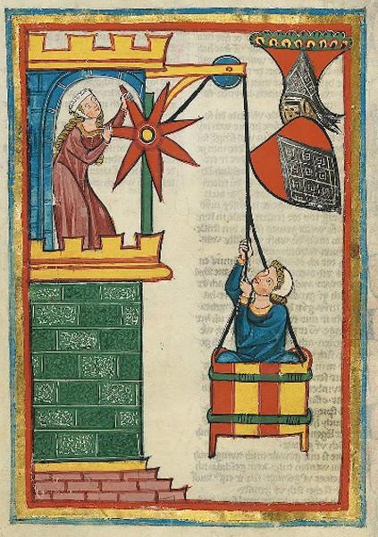 Illustration du Codex Manesse, 1315, Bibliothèque de l'Université, Heidelberg,