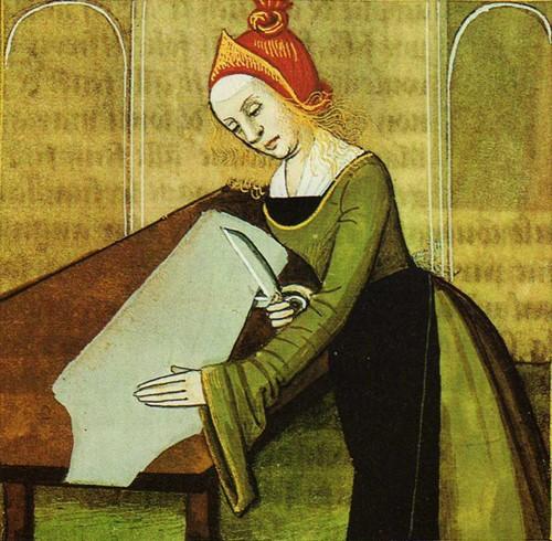 Femme tailleur coupant un patron, Giovanni Boccaccio, De Claris mulieribus, traduit en français Livre des femmes nobles et renommées, 1403, BnF, Paris.