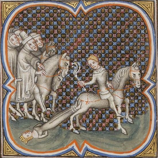 Supplice de la reine Brunehaut, détail des Grandes Chroniques de France de Charles V, BnF, Paris.
