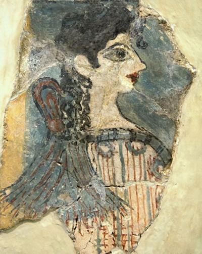 La Parisienne. Petite fresque minoenne de Cnossos, 1450-1300 av. Musée Archéologique d'Héraklion, Crète.