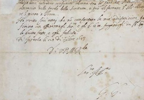 lettre autographe de Galilée à Benedetto Castelli en date du 21 décembre 1613