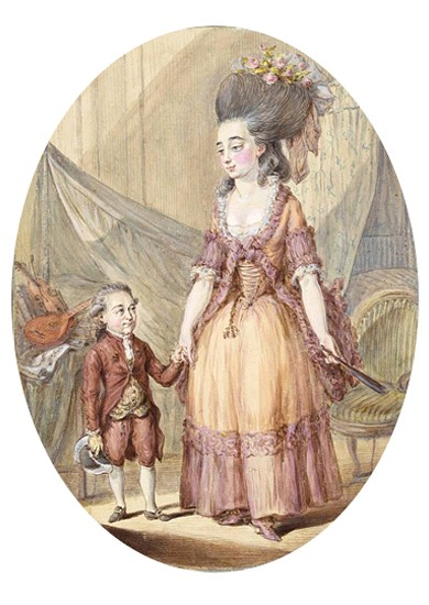 Józef Boruwłaski avec sa femme, Friedrich Anton August Lohrmann, 1780, cabinet des Estampes de la Bibliothèque de l'Université de Varsovie. En agrandissement, Philippe Reinagle, Joseph Boruwlaski, s. d., Londres, Hunterian Museum, Royal College of Surgeons of England.