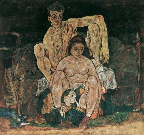 La famille, Egon Schiele, 1918, Vienne, Palais du Belvédère. Le peintre exécute ce tableau quelques jours avant sa mort et peu de temps après que la grippe a emporté son épouse Édith, alors enceinte de six mois. L'enfant représenté au premier plan n'a en fait pas eu le temps de naître.