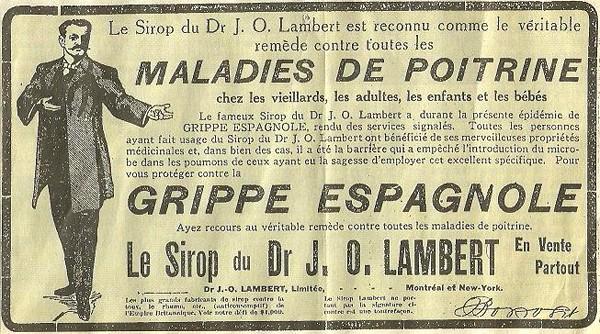Publicité pour un remède contre la grippe espagnole, presse canadienne, 1918.