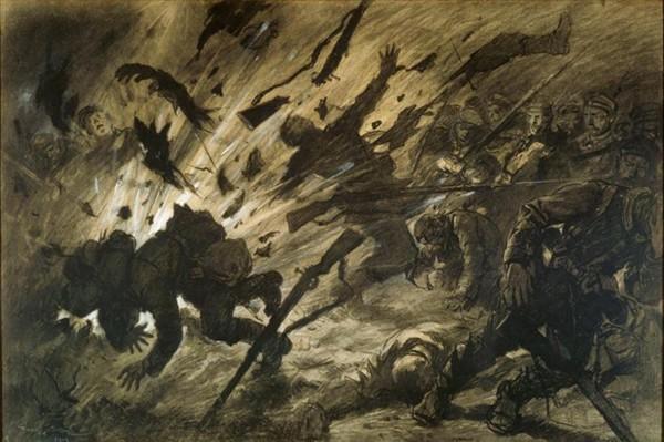 Effet d'un obus dans la nuit, avril 1915, Georges Scott, 1915, Paris, musée de l'Armée