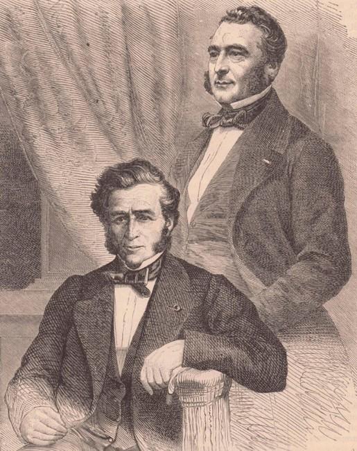 Les frères Pereire, fondateurs de la Compagnie Générale Transatlantique, Le Monde illustré, éd. du 21 février 1863, Paris, BnF, Gallica.