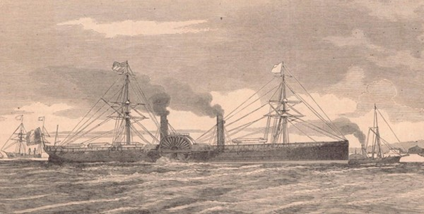 Le Washington dans sa configuration originelle, avec ses roues à aubes et encore avec une mâture lui permettant d'avancer à la voile en cas d'avarie moteur, Le Monde illustré, éd. du 25 juin 1864, Paris, BnF, Gallica.