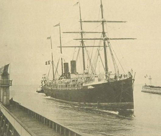 La Normandie entrant au havre, (ligne Le Havre - New York), 2 mâts, 2 cheminées, imprimerie-photo Aron Frères à Paris, 1883.