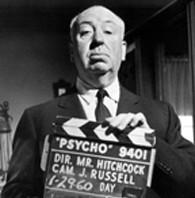 Alfred Hitchcock sur le plateau de Psychose (1960)