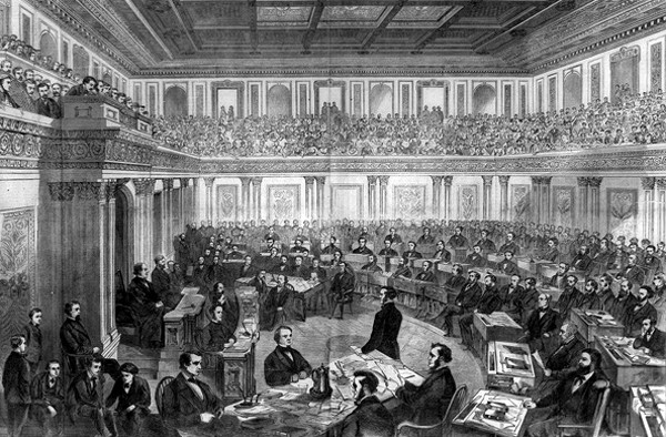 Procédure d'impeachment au Sénat 24 février 1868, Theodore Russel Davis, Illustration in Harper's Weekly, 11 avril 1868.