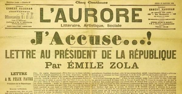 J'Accuse (Émile Zola), L'Aurore, 13 janvier 1898