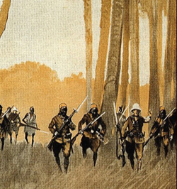 Au Kilimandjaro, tableau de Friedrich Wilhelm Mader illustrant une charge d'Askaris.