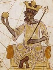 Kankou Moussa, roi africian de l'empire du Mali au XIVe siècle, Atlas Catalan.