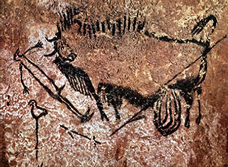 Peintures rupestres dans la grotte de Lascaux.