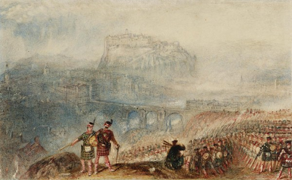 Edinburgh Castle: March of the Highlanders (Château d'Édimbourg: Marche des Highlanders), Joseph Mallord William Turner, 1834, Tate Britain. Illustration pour le roman Waverley de Walter Scott.