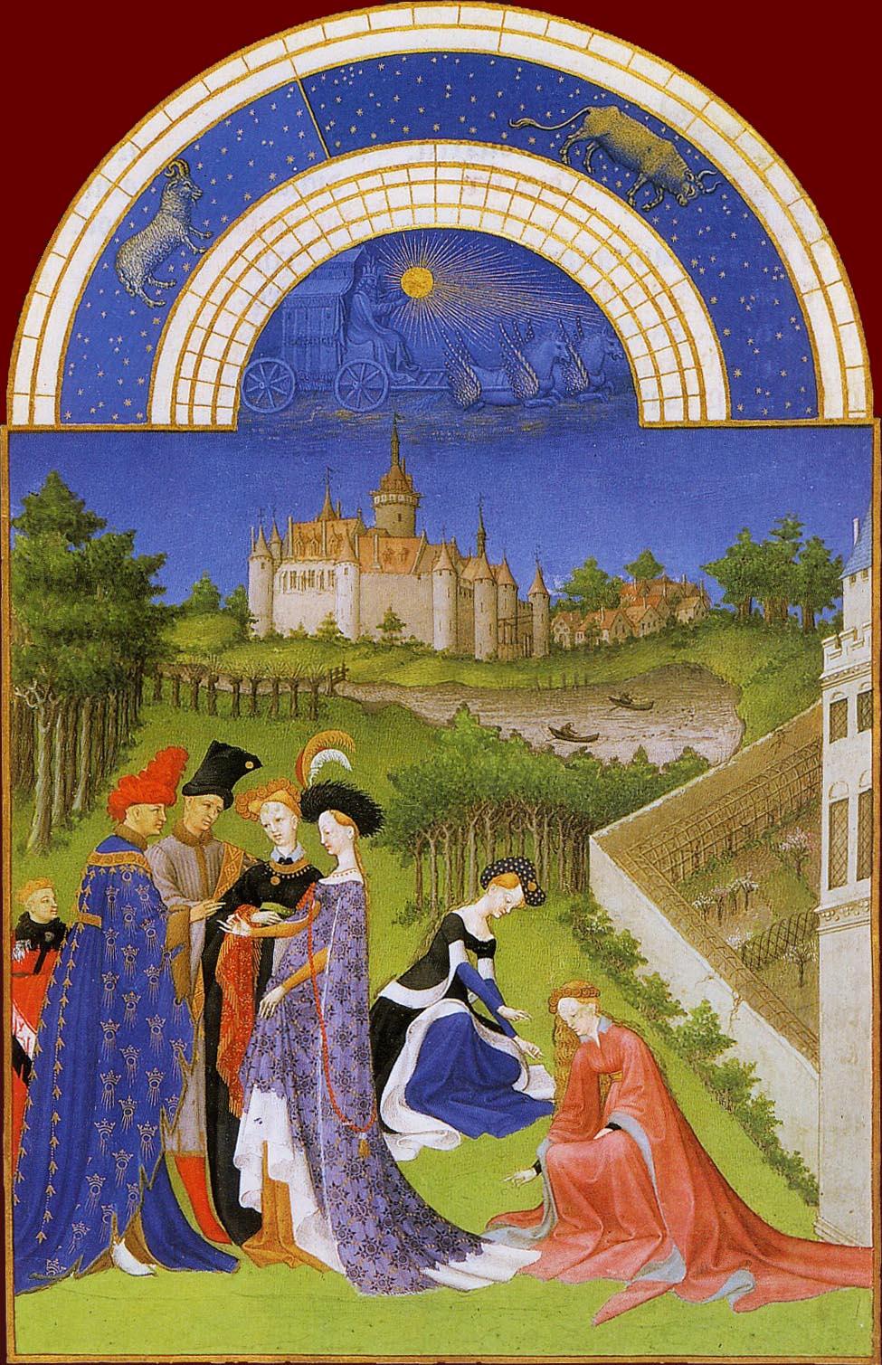 Les Très Riches Heures du duc de Berry, le mois d'avril (enluminure des frères de Limbourg, XVe siècle, musée Condé, Chantilly)