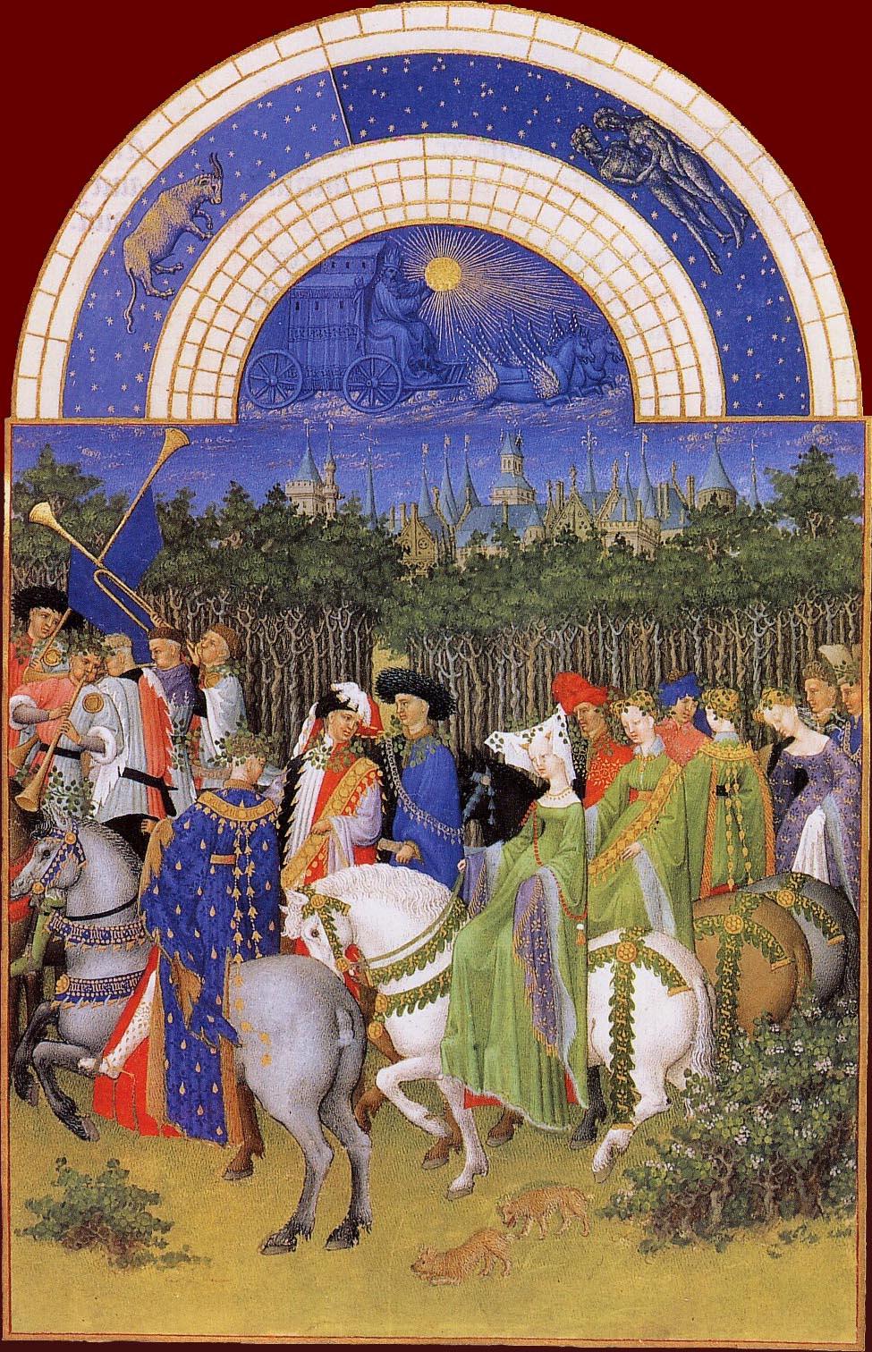 Les Très Riches Heures du duc de Berry, le mois de mai (enluminure des frères de Limbourg, XVe siècle, musée Condé, Chantilly)