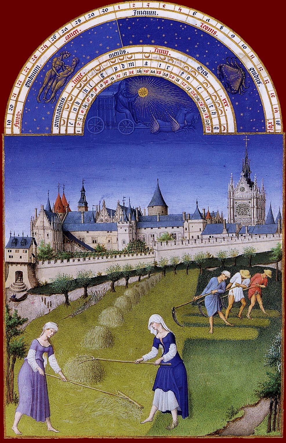 Les Très Riches Heures du duc de Berry, le mois de juin (enluminure des frères de Limbourg, XVe siècle, musée Condé, Chantilly)