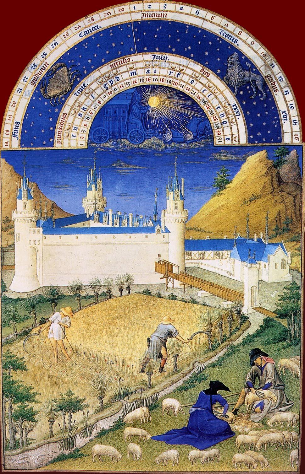 Les Très Riches Heures du duc de Berry, le mois de juillet (enluminure des frères de Limbourg, XVe siècle, musée Condé, Chantilly)