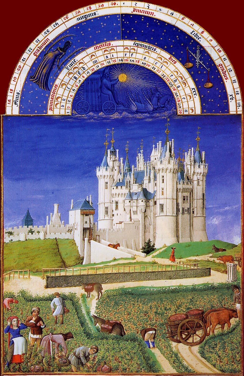 Les Très Riches Heures du duc de Berry, le mois de septembre (enluminure  des frères de Limbourg, XVe siècle, musée Condé, Chantilly)