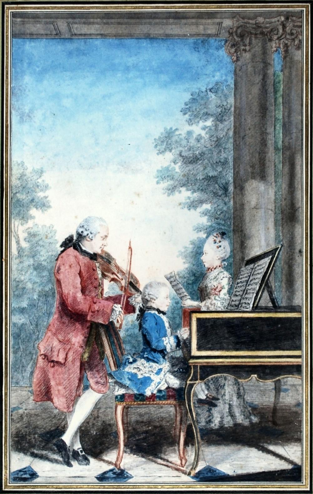 Portrait de Wolfgang Amadeus Mozart jouant à Paris avec son père Jean-Georg- Léopold et sa sœur Maria-AnnaLouis (Carrogis Carmontelle, 1763, Chantilly,  musée Condé)