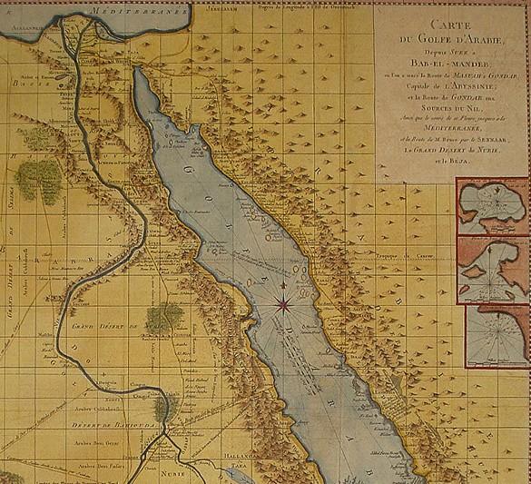 James Bruce, Carte du golfe d'Arabie, illustration du Voyage aux sources du Nil, en Nubie et en Abyssinie,1792.