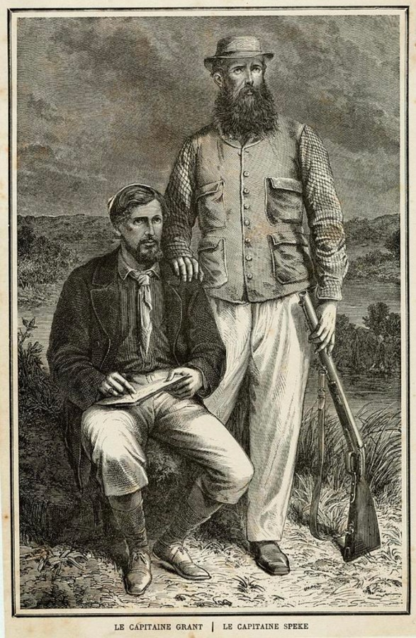 John Speke et James Grant dans John Speke, Journal of the Discovery of the source of the Nil, 1863.