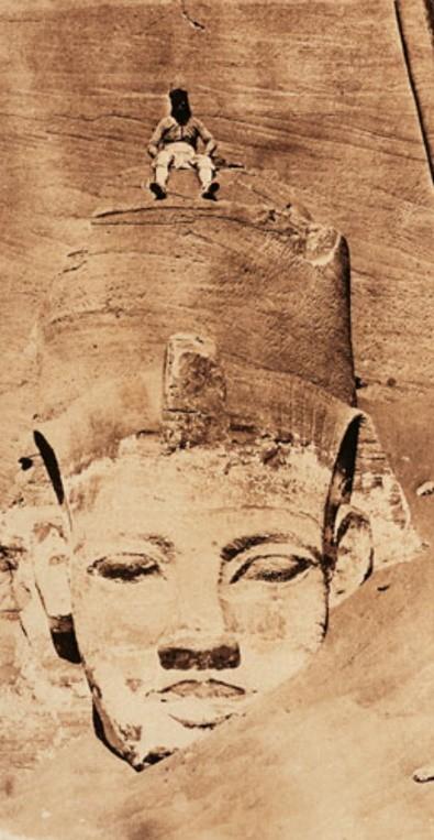 Maxime du Camp, Ibsamboul ; colosse occidental du spéos de Phré, 1850, Paris, BnF.