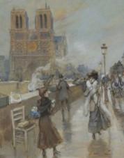 Vue de Notre-dame depuis le quai Saint-Michel, Georges Stein, début XXe siècle.