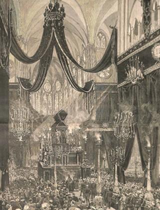 Funérailles du président Sadi Carnot à Notre-Dame, gravure, 1894, DR.