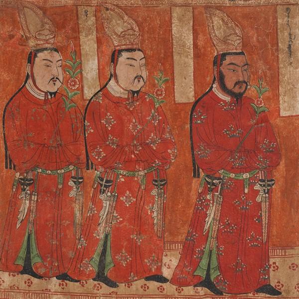 Princes ouïghours, peinture murale, grottes de Bezeklik, IXe siècle.