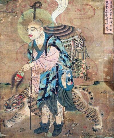 Le moine Xuan Zang voyageant avec un tigre, peinture des grottes de Mogao, VIII-IXe siècle, Dunhuang, Chine.