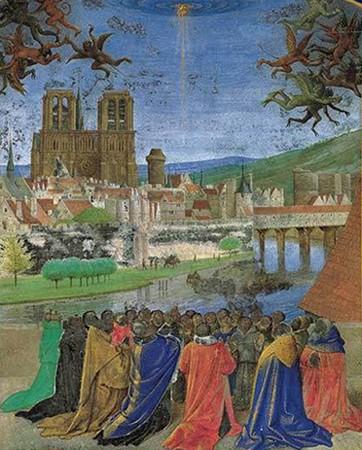 Notre-Dame de Paris, enluminure de Jean Fouquet, XVe siècle : La Main de Dieu protégeant les fidèles.