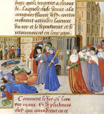 Rixes à Paris entre étudiants et bourgeois, vers 1230, Paris, BnF, Gallica.