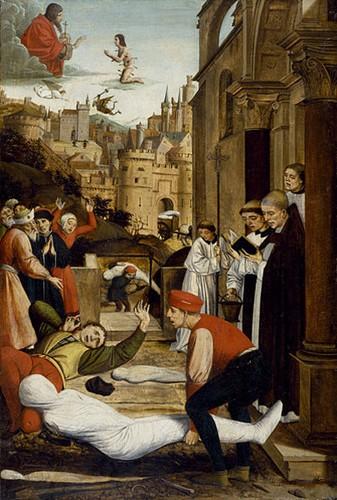 Saint Sébastien intercède auprès de Dieu pour conjurer la peste, Josse Lieferinxe, XVe siècle, Baltimore, Walters Art Museum.