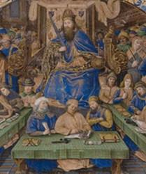 L'empereur Justinien promulguant le Code, Maître du Retable Beaussant, vers 1480, Paris, musée du Louvre.