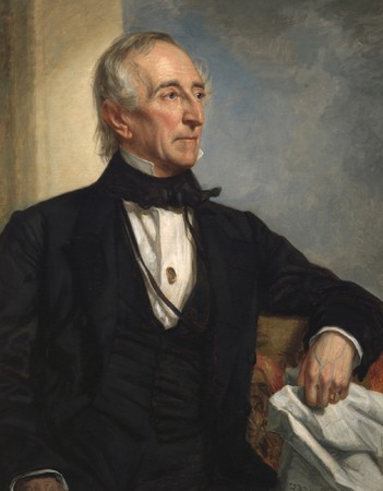 George Peter Alexander Healy, portrait de John Tyler (1790-1862) en 1859. Il fut le 10e président des États-Unis (1841-1845), National Portrait Gallery, Smithsonian Institution. L'agrandissement présente un daguerreotype d'Edgar Allan Poe (The Kingsley Daguerreotype), s. d., New York, The Morgan Library and Museum.