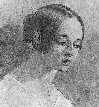 Virginia Clemm Poe, dessin, Lilly Library, Indiana University, Bloomington. L'agrandissement est le portrait de Virginia peint après sa mort, 1847.