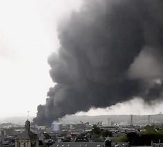 Fumée s'échappant de l'usine Lubrizol, le 26 sptembre 2019, DR.