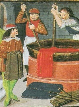 Teinturiers flamands (1482, miniature, British Library, Londres)