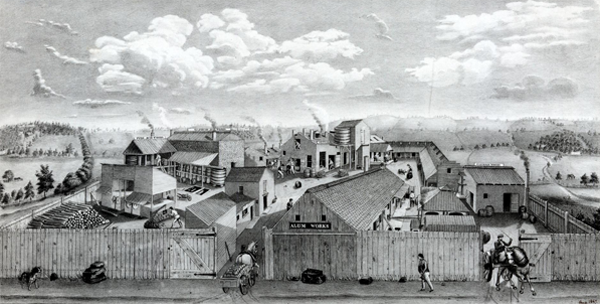 Usine de Céruse Harrison Brothers à Philadelphie, lithographie de William H. Rease, 1847.